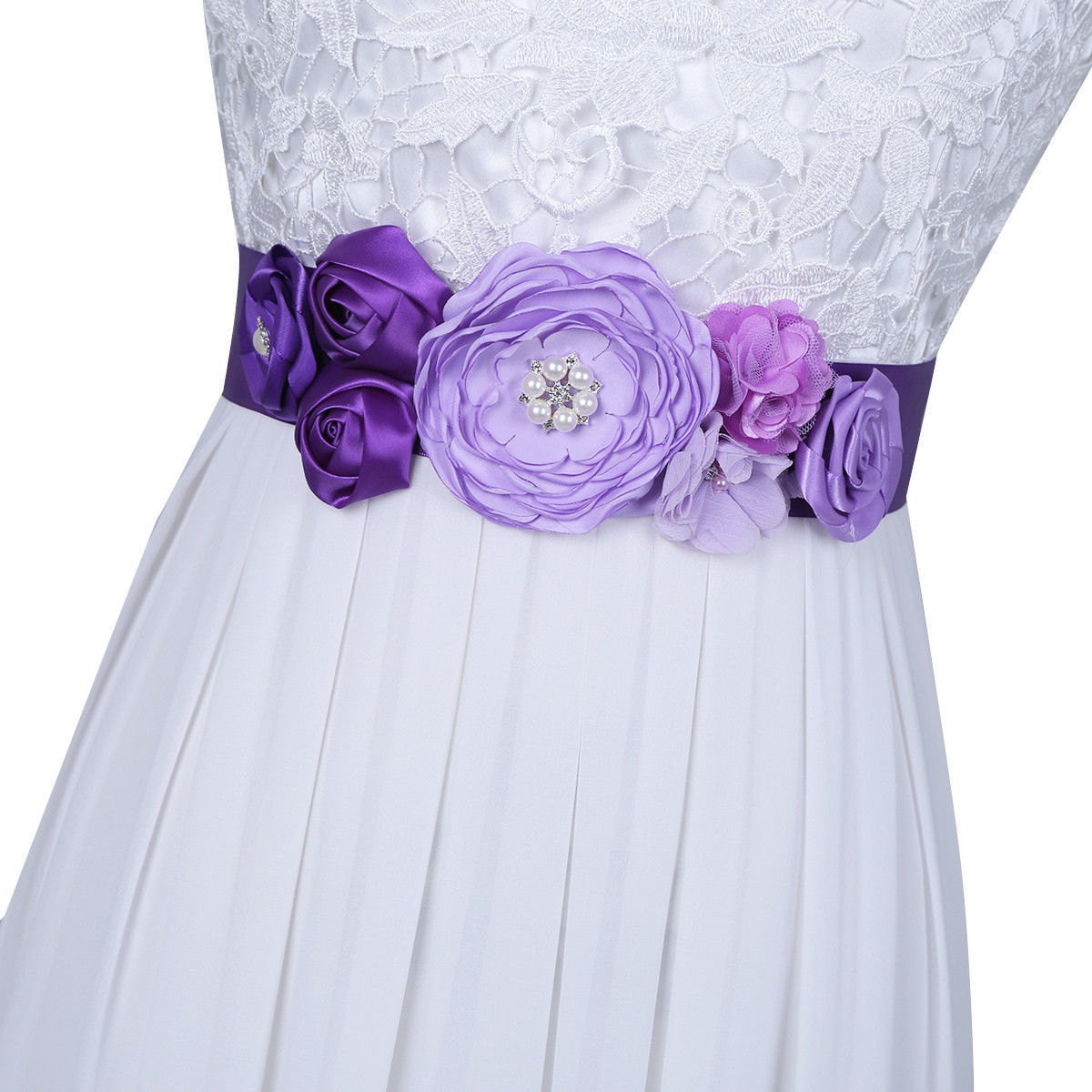 Flower Belts For Wedding Dresses: Handmade Beauty Kids Satin Silk 3D Flower Bridal Sash Belt