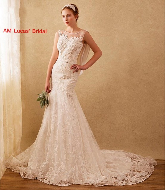 caaf0df4bac1 2018 Long Mermaid Wedding Dresses Lace Illusion New Bridal Party Gowns  Fairytale Princess Dress