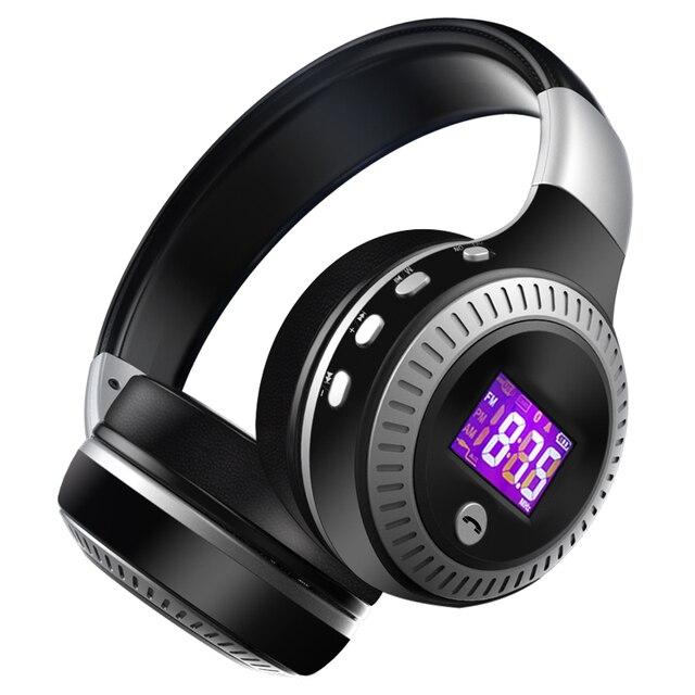 Фанатик B19 Беспроводной Bluetooth наушники стерео бас наушники С микрофоном FM радио TF карты играть ЖК-дисплей Экран