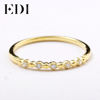 EDI 14kt Yellow Gold Simulated Diamond CZ Band Ring Star Ball All Match Diamond Infinity Ring Dainty Ring For Women Fine Jewelry