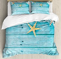Starfish Decor Duvet Cover Set Rustic Wood Boards Fishing Net and Ocean Animals Nautical Print Decorative 4 Piece Bedding Set