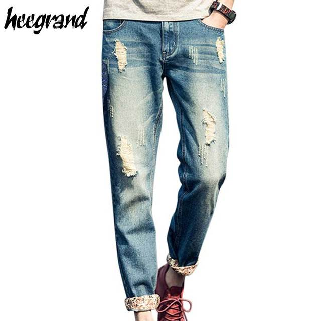 2017 New Fashion Mens Jeans Summer Style Hole Vintage Stylish Modern Straight Comfortable For Man