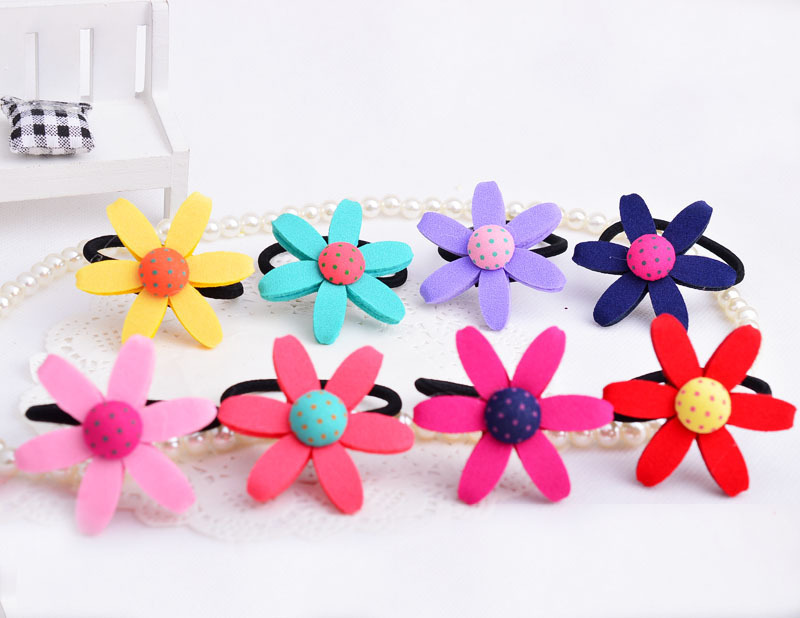 FQ010 fashion fabrics children 39 s Elastic hair bands with lovely sunflower in 8 colors cute dot clothing button hair rubber bands in Hair Accessories from Mother amp Kids