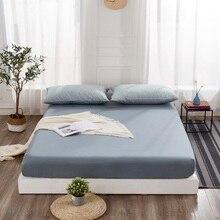 PHF 100% Хлопок Подогнанный Простыня Твердый Карманный Покрывало на кровать Голубое фиолетовое