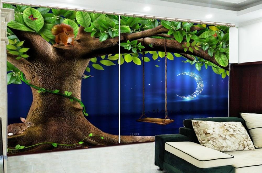 3d Gordijn Swing Onder De Grote Boom Nachts Konijn 3d Dier Gordijnen Woonkamer Slaapkamer Mooie Praktische Verduisterende Gordijnen