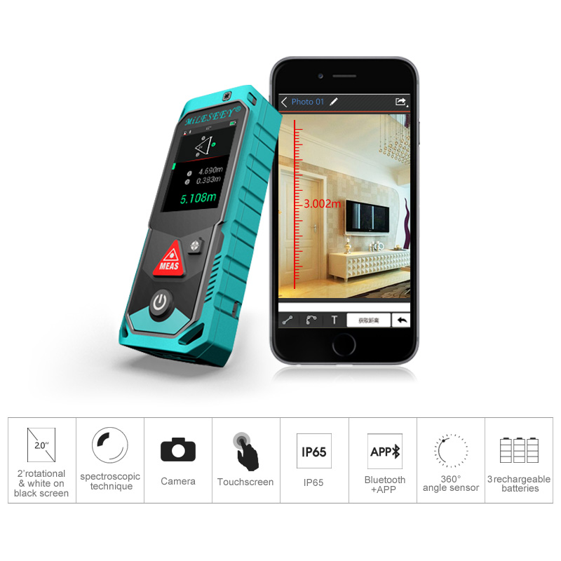 Gamma Telemetro Laser Finder Bluetooth Della Macchina Fotografica Punto Finder Rotante Touch Screen Rechargerable Laser Tester di Distanza