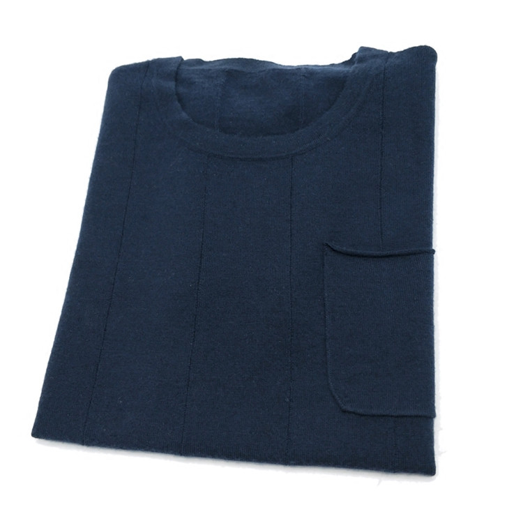 Pure Goat Cashmere Thin Knit Men Spring Autumn Fashion Short Sleeve Pullover Sweater Dark Blue M/L