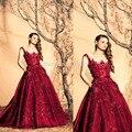 Frisado Appliqued Vestido de borgonha vestidos Vestido