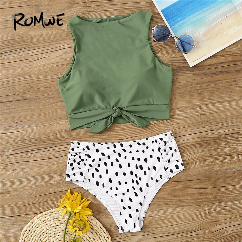 Romwe Two-Pieces-Suits Swimwear Sport High-Neck Summer 2piece Ruched Knot Women