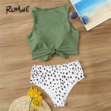 цены на Romwe Sport Two-Pieces Suits Knot Hem Top With Ruched Panty 2 Piece Swimsuit Women Summer High Neck Casual Swimwear 2 Colors  в интернет-магазинах