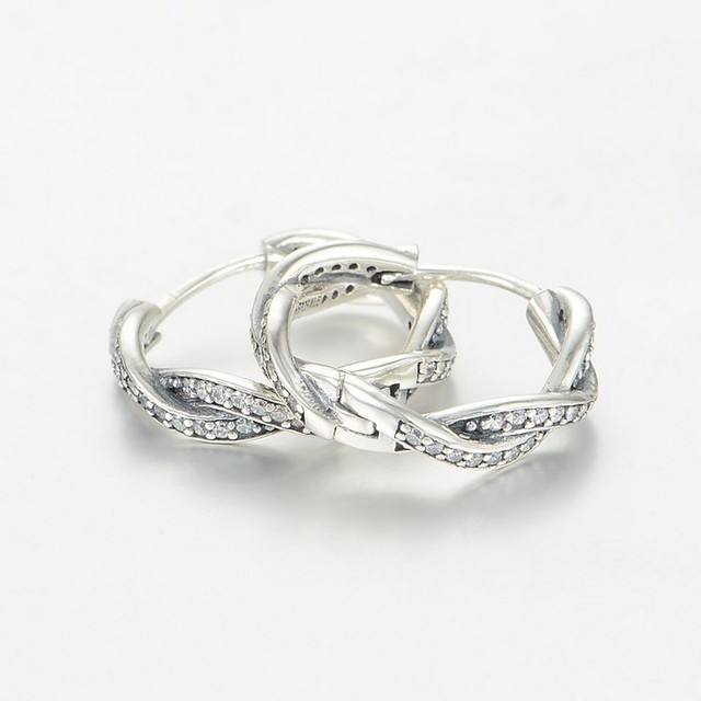 Authentic 925 sterling silver womens jewelry Silver Braded Earring Hoops with Clear Cz Mother's Day DIY jewelry wholesale