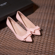 Women's Thin Low Heel Red Bottom Pumps Pointed Toe Sweet Bowtie Slip-on High Heels Shoes for Women OL Style Single Shoes Female
