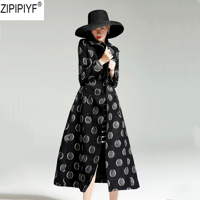 2018 New Fashion Autumn Vintage Women's Luxury Dot Windbreaker Long Trench Coat Turn down Collar Long Sleeve Slim Outwear C3074