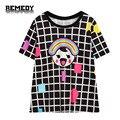 2016 New Rainbow Impressão Xadrez Roupas casuais Da Marca das Mulheres t-shirt Harajuku moda T shirt Top tee shirt para o verão Plus Size tamanho