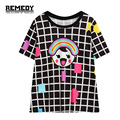 2016 New Women's casual Clothes Brand Plaid Rainbow Printing t-shirt Harajuku fashion T shirt Top tee shirt for summer Plus Size
