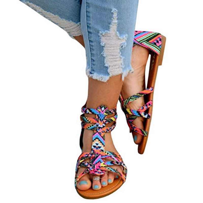 CYSINCOS โบฮีเมียรองเท้าแตะฤดูร้อนแบนรองเท้าแตะโรมันรองเท้าชายหาดแฟชั่น Pom-Pom รองเท้าแตะขนาด 36-43
