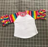 Радуга полосой с ярким Регланом футболки Пустой дети рубашка с рюшами обувь для девочек топ детская одежда заготовки оптовая цена Заводска