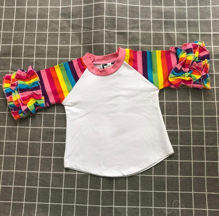 Arcobaleno striscia di glassa raglan tee shirt in bianco bambini glassa delle camice delle ragazze top abbigliamento bambini blanks all'ingrosso di prezzi di fabbrica di vendita