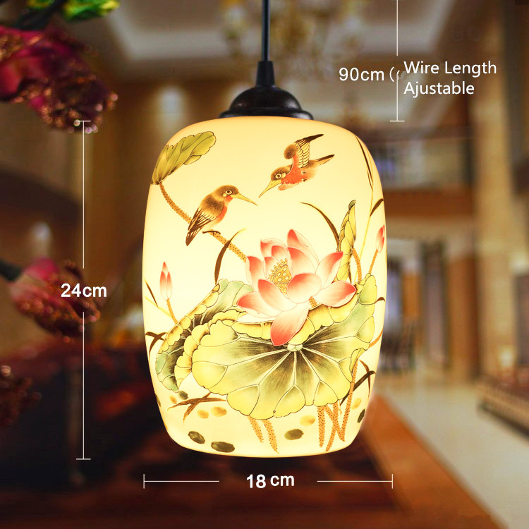 ФОТО Southeast Asia Metal Paint Ceiling Plate Black Wire Hanging Lotus Clear Interest Single Head Chandelier Ceramic Lamp