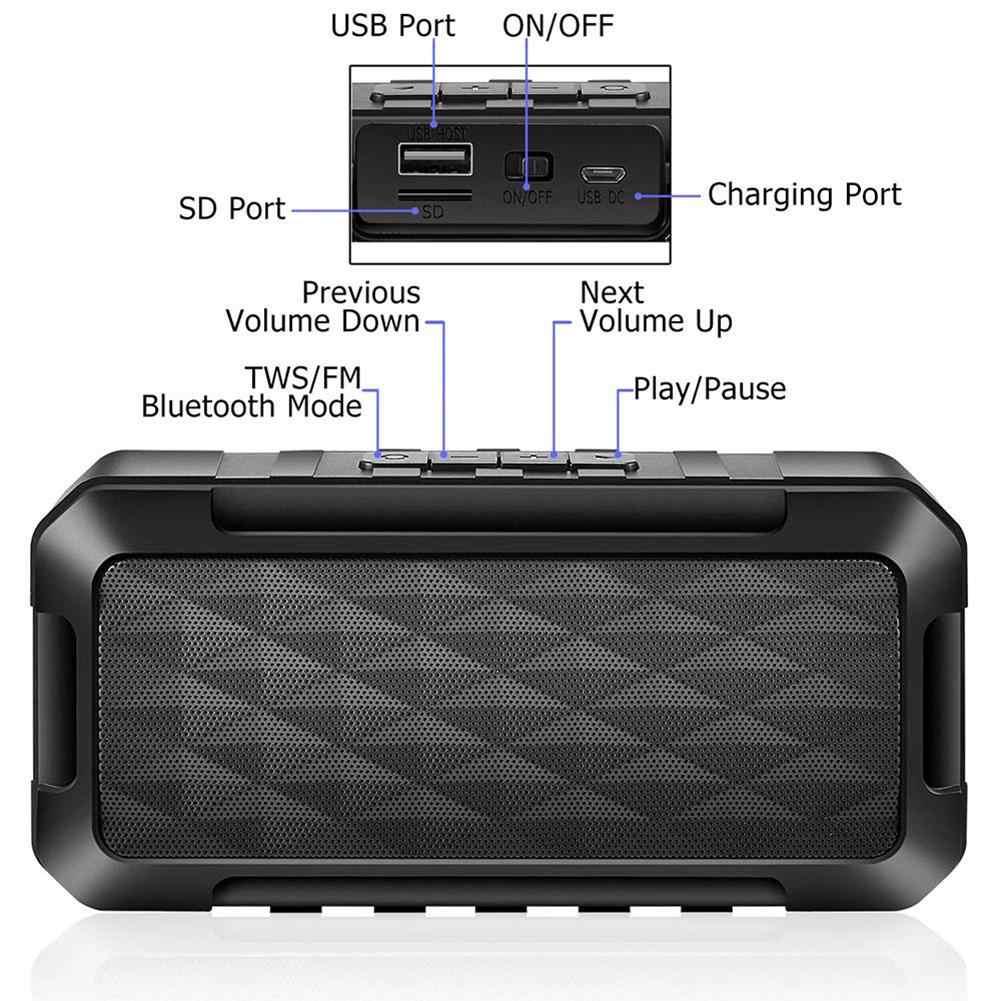 Głośnik bluetooth kwadratowe pudełko głośnik 2 kwadratowe Stereo przenośne V5.0 dźwięk wysokiej jakości odtwarzania muzyki