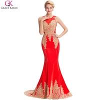 Elegant White Black Blue Red Long Mermaid Evening Dress Gold Appliques Grace Karin Floor Length Women