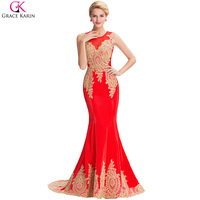 Elegant White Black Blue Red Long Mermaid Evening Dress Gold Appliques Grace Karin Floor Length Women