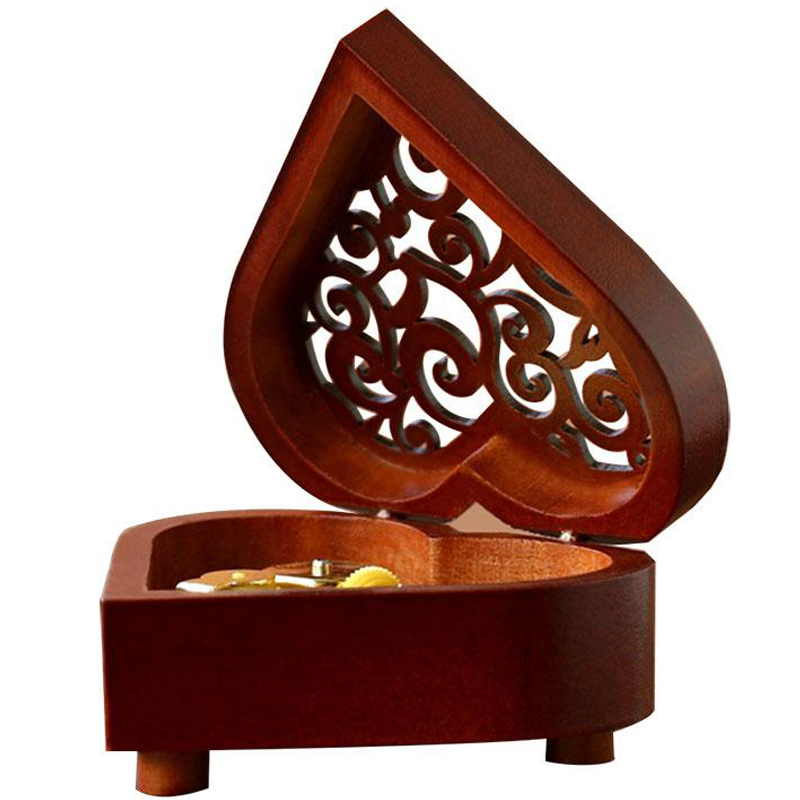 Creative Heart Shaped Vintage Wood Carved Mechanism Musical Box Wind Up Music Box Gift For Christmas/Birthday/Valentine'S Day