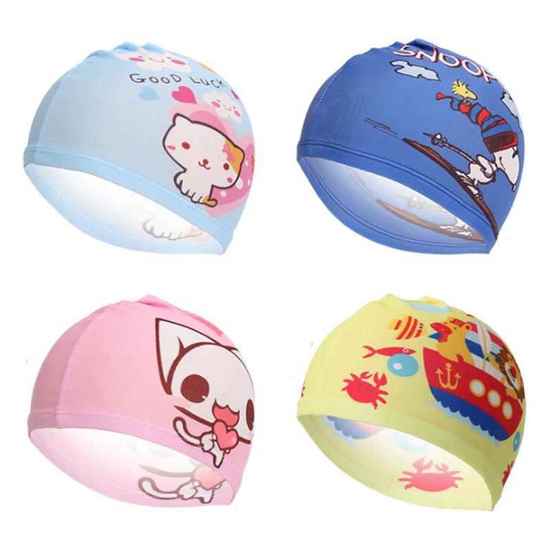 2pcs Cute Cartoon Kids Children Fabric Swimming Cap Swim Pool Beach Protect Ears Hair Bathing Hat for Boys Girls Multi Patterns