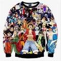 Новый 2016 осень мужчины/женщины кофты 3D графический футболка печать аниме One Piece пуловер с капюшоном осень топы одежда