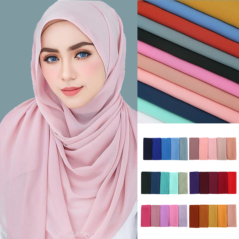 High Quality Women Plain Bubble Chiffon   Scarf   Hijab Long Georgette   Scarf   Shawls Muslim Hijabs Islamic Headwear   Wraps     Scarves