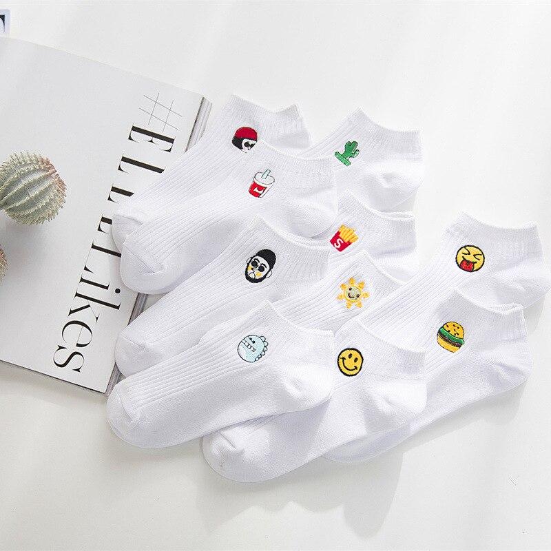 2018 Spring&Summer  Harajuku Funny Cartoon White Women Slipper Sock Novelty Milk Sun Monster Embroidery Cotton Short Socks
