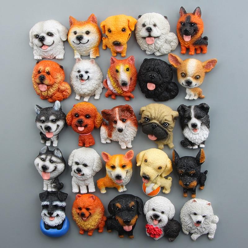 Japanes Bulldog Siberian Husky Corgi Pug Chihuahua Toys Resin Kawai Zakka Puppy Figure Toys Model  Fridge Magnet Home Decor