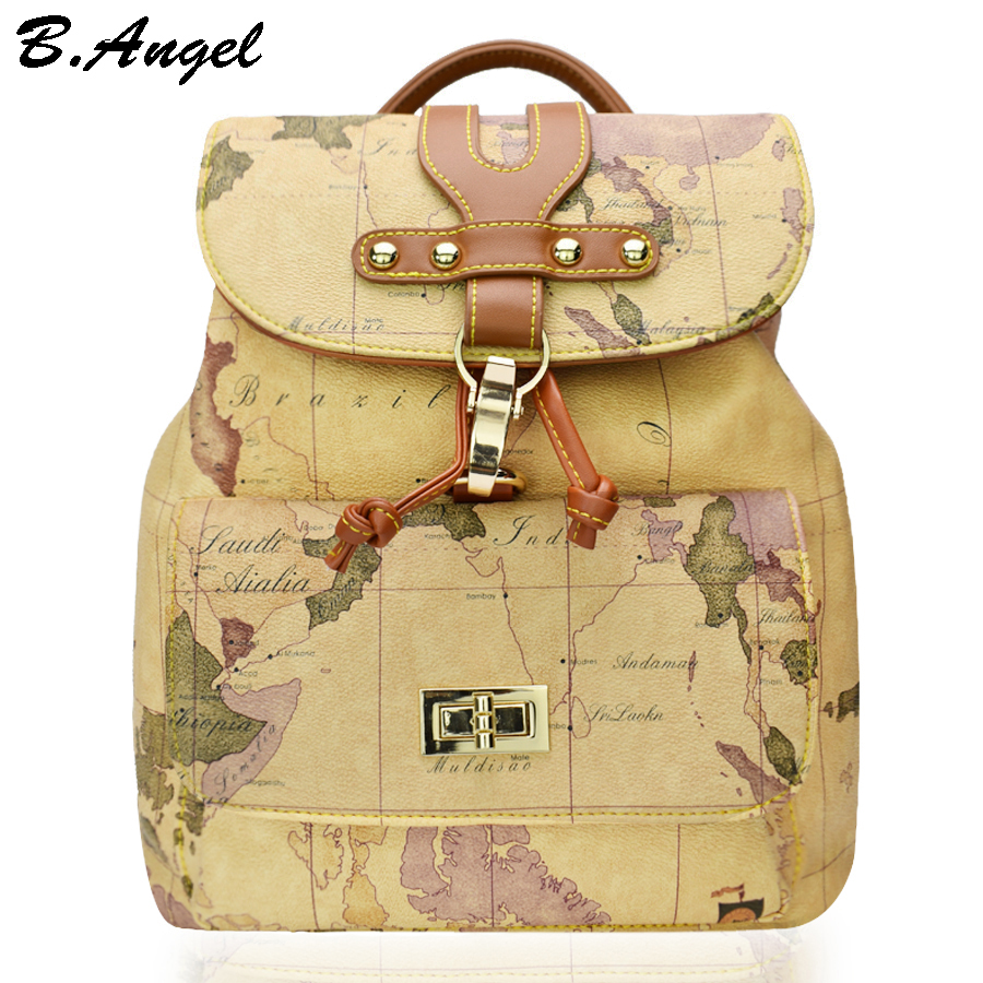 High quality women and men world map backpack fashion backpack women retro leather backpack brand design
