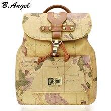 Высокое качество женщины и мужчины карта мира рюкзак моды рюкзак женщины ретро кожа рюкзак марка дизайн школьный рюкзак