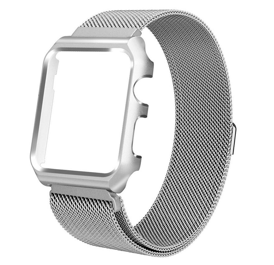 5PCS LOT Magnetic Closure Clasp Mesh Loop Milanese Stainless Steel iWatch Band and frame for Apple