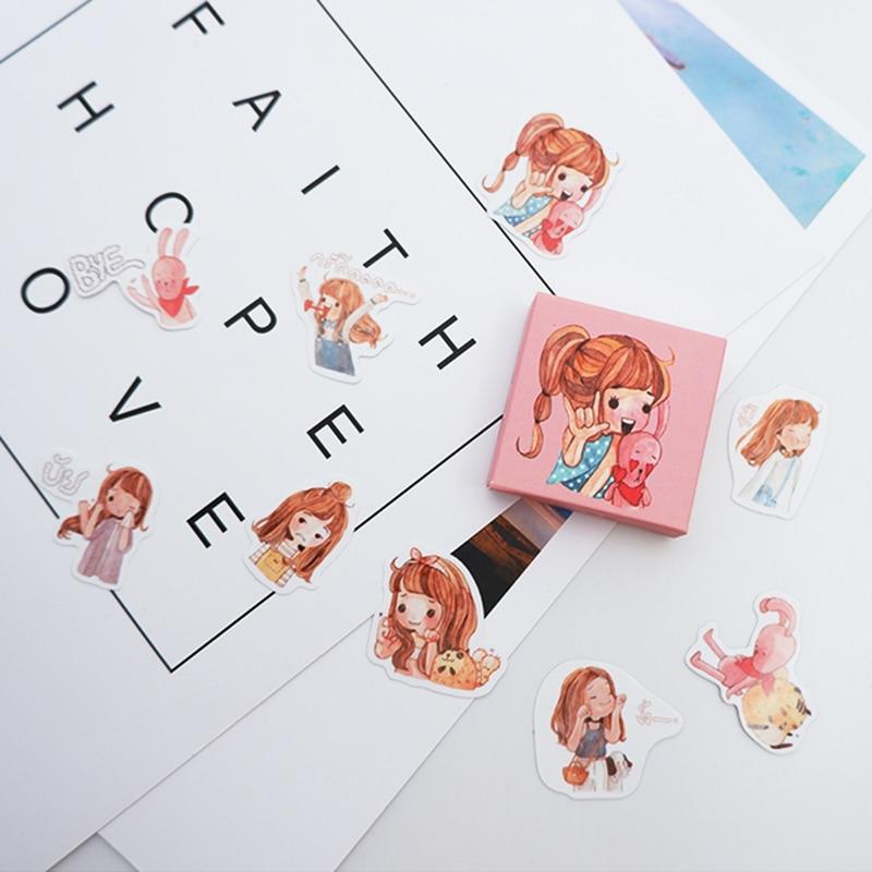 40 pcs pack Cute little girl paper sticker DIY diary album decoration stickers scrapbooking planner label Scrapbook stickers in Stickers from Home Garden