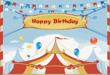 Laeacco Baby Party Circus Cartoon Tent Balloon Flag Photography Backgrounds Customized Photographic Backdrops For Photo Studio