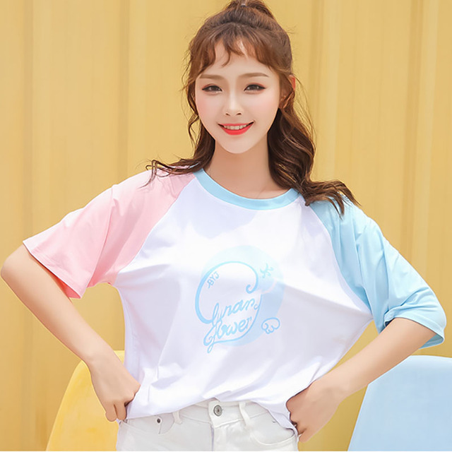3a0322aa9fc Harajuku Kawaii Lolita Style Short Sleeve T shirt Tops Women Summer Korean  Fashion Patchwork Sweet Tee Shirt Tops Schoolgirl