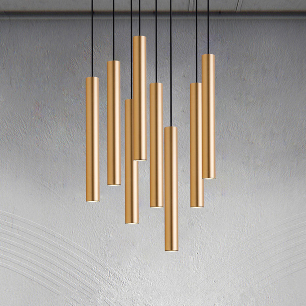 Led Pendant Lights Long Tube Light Kitchen Island Dining Room Shop Light Pendant Decoration Cylinder Pipe Hanging Kitchen Lamp