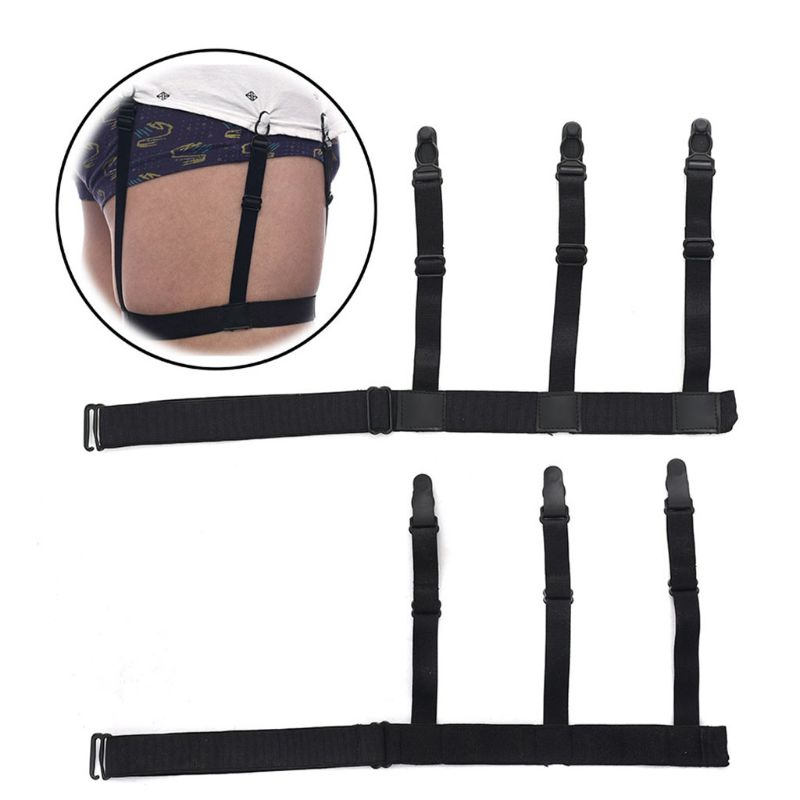 Women's Intimates Garters 2pcs/pair Shirt Stays Elastic Belt With Non-slip Locking Clips Clamps Leg Thigh Suspender Garters Holder Strap Adjustable High Quality Materials