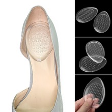 цена на Women Shoe Plantar Silicone Transparent Invisible Support High Heel Universal Gel Insert Pain Relief Non Slip Massage Orthopedic