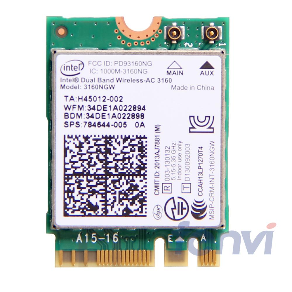 Intel Dual band Wireless-AC 3160 3160NGW NGFF M.2 Wifi Bluetooth 802.11ac 2.4G / 5Ghz ლეპტოპი Wlan BT 4.0 Combo უკაბელო ბარათი