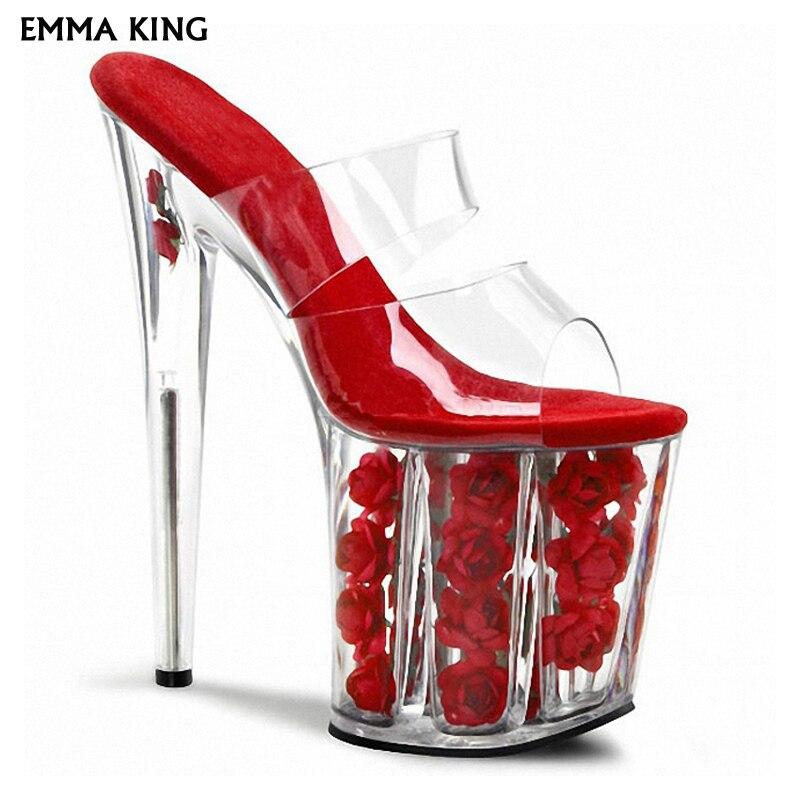 20 Femme Hauts Rouge Fond Talon rose Talons Transparent Cristal Épais Fleur Sexy Super blanc De Sandalias Rose Cm Chaussures Sandales Mujer Mariage rouge w6tOBzpnq