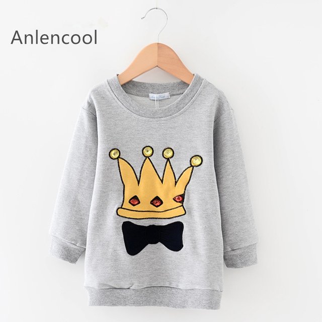 Anlencool Kids Sweatshirts  New Fashion Boys Girls Long Hoodie Kids Clothes Long Sleeve Crown Printing Design Boys Clothes