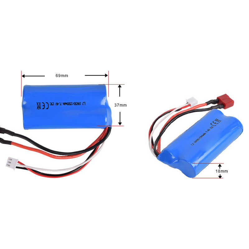 7.4v 1500mah 15C 18650 Li-ion Battery T Plug with USB charger For RC WL12428 12423 toys battery Car Boat Helicopter Drone