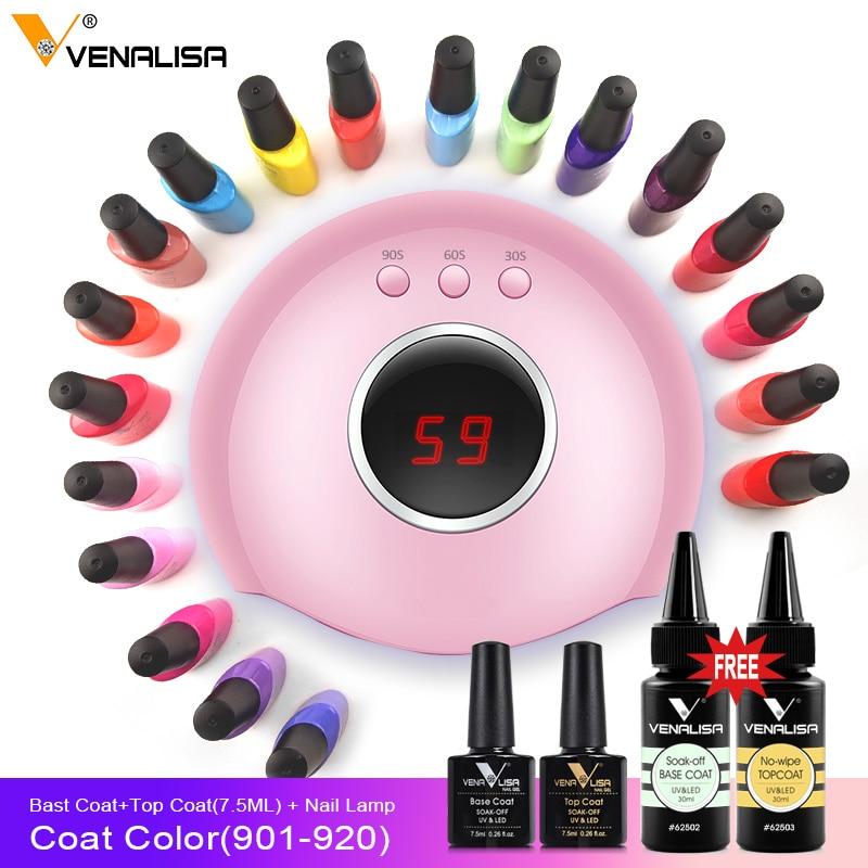 Venalisa 2019 New nail polish gel kit led nail lamp manicure base coat topcoat 7 5ml