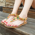 2017 verão new Bohemian Colorido frisado sandálias femininas sandálias flat nacional Macio espinha de peixe Mulheres sapatos. HYKL-818