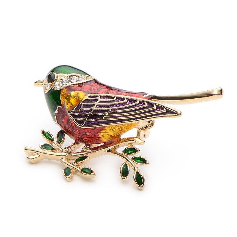 Rhinestone Emajl Oriole Ptice Broševi Muškarci Žene Legura Ptica - Modni nakit - Foto 6