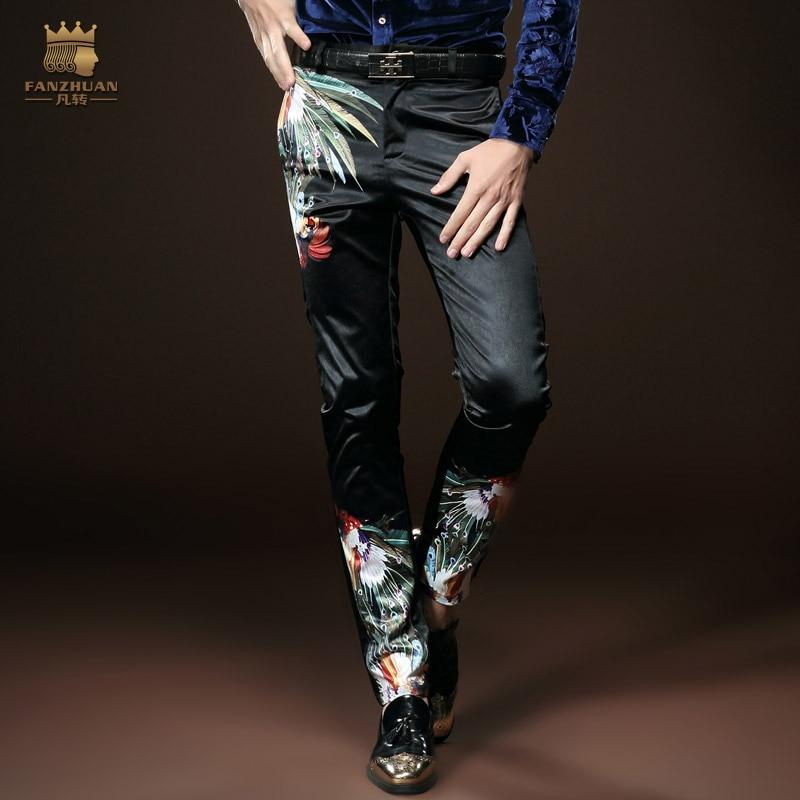Fanzhuan Envío Gratis Nueva moda masculina pantalones hombres casual slim primavera negro delgado personalidad 518030 en stock Pantalones Lápiz