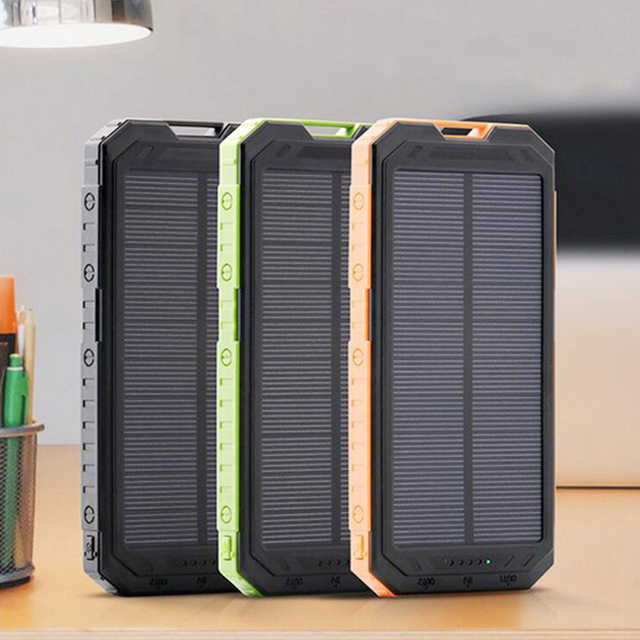 12000mAh Solar Power Bank Dual USB Outdoor Sports External Battery Pack Portable Charger With LED Lighting poverbank